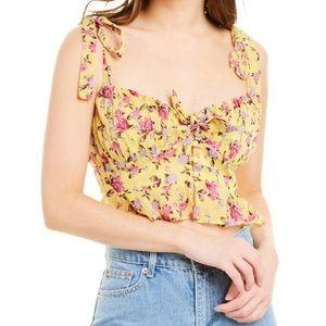 For Love & Lemons Beaumont Silk-Blend Top size S